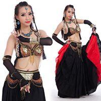 2021 Mujeres Tribal Belly Dance Wear 4 Pieces Traje Set Antiguo Bronce Beads Bra Beld Faldas Gypsy Dance Trajes