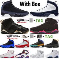 2021 Avec Box High Jumpman 9 9S Cant-Racer Blue Mens Basketball Chaussures 7 7S Raptro Charcoal GMP Baskets de baskets Rétro Taille 7-13
