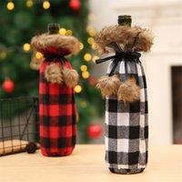 2020 Black Christmas Red Grids cordão Winebottle vinho Capa Moda Balck Branco Grids tampas de garrafa partido Home decoração favor E102104