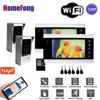 Homefong 7 بوصة 2v2 واي فاي الذكية السلكية السلكية الفيديو باب الهاتف إنترفون باب الدخول نظام الجرس الحركة كلمة المرور، IP651