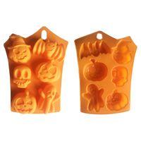 Silicone Laranja Mold Chocolate Mold Halloween DIY Fondant dos doces Crânio Pumpkin Bat Silicone Chocolate Cookie Baking VT1741 Mold