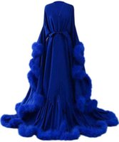 Ropa de dormir de las mujeres pluma túnica nupcial bufanda de boda larga lencería nightgown albornoz baño con cinturón