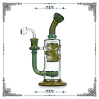 Imported American Color Prod Strain Fab Glass Bong Recycler DAB RUG 8,8 дюйма стеклянная водяная труба сотовой струи Perc нефтяная бурная установка Bubbler Banger