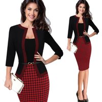 Hgte Womens Autumn Retro Faux Jacket One-piece Polka Dot Contrast Patchwork Wear To Work Office Business Sheath Dress Y200930