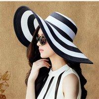 Été Chapeaux de soleil Chapeau Visière Chapeau Visière Big BRim Classique Blanc Blanc Chapeau de paille à rayures Casual Casquette de plage d'extérieur pour Femmes UV Protection1