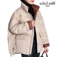MAX LULU NEW 2020 Корейский модный стиль женские повседневные Parkas дамы винтажные свободные зимние утка вниз куртки мягкие пальто плюс размер