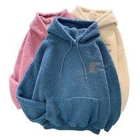 Nuevo otoño abrigo de invierno rosa impreso con capucha con capucha Harajuku Sood Pocket Hoodies para mujer Fleece Flanela Pullover Femenino Sudadera LJ201103
