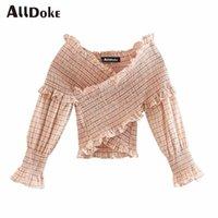 Alldoke V-Ausschnitt Rüschen Plaid Bluse Frauen Sommer Vintage Laterne Sleeve Cross Crop Tops Hemd Sexy Damen Blusen Blusas Femme