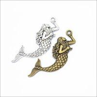 Оптовая тибетская серебряная бронза Big Mermaid Sea-служанку цинкового сплава Подвески Подвеска Изготовление ювелирных изделий DIY выводов 76 * 26mm