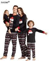 Yagimi Christmas Pyjamas Matching Family Outfits Weihnachtskleidung Frauen Familie Blick Weihnachten Hut Anzug Hause Nachtwäsche Pijama LJ201112