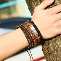 4pcs / Set Hommes Mens Vintage Cuir Croire Bracelet Bracelet Ensembles En Cuir Tressé Corde Noir Perles Noir Chaînes Bracelet de chaîne Pour Femmes Mode 113 L2