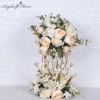 Dekoratif Çiçekler Çelenkler Lüks Düğün Masa Centerpieces Çiçek Topu Yol Kurşun Yapay Parti Dekor Ile Dipsiz Standsız 2 Takım