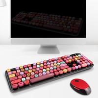 Teclado Multicolor 104 teclas e mouse sem fio Set Escritório de Negócios Homens Mulheres teclado USB e mouse Combos com receptor