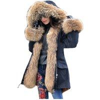 Lavelache Uzun Parka Gerçek Kürk Kış Ceket Kadınlar Doğal Gerçek Fox Kürk Palto Giyim Streetwear Rahat Boy Yeni 201112