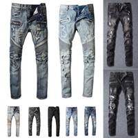 Разорвал модные джинсы одежды дизайнерские брюки светло-голубой мужской тонкий джинсовой джинс прямой байкер дыра хип хмель джинсов