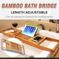Verstellbares Badezimmerregal Badewanne Tablett Dusche Caddy Bambus Badewanne Rack Weinbücher Halter Lagerorganisation Zubehör 200923