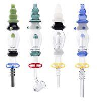 14mm Su Soğutmalı Dökülmez Parlak Renkli Cam Bipbler Titanyum Kuvars ile Seramik Tırnak İpuçları Renkli Cam Dab Saman Borular Bongs