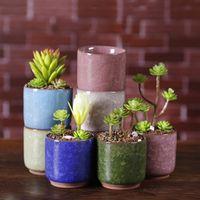 Buz Kırık Mini Seramik Saksı Renkli Sevimli Saksı Masaüstü Dekorasyon Etli Saksı Bitkileri Ekipmanları için