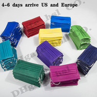 В наличии! 15 цветов Одноразовых масок для лица розничной упаковки модельера Упругой уха Loop 3 Ply Protective дышащих и удобных