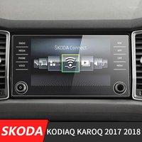 256 * 136mm 자동차 센터 콘솔 LCD 스크린 스티커 GPS 네비게이션 스크린 Kodiaq Karoq1 용 강화 강 보호 필름