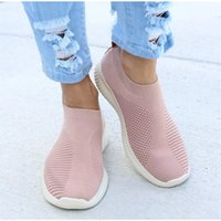 Women Sneakers Female Knitted Vulcanized Shoes Casual Slip On Ladies Flat Shoe Mesh Trainers Soft Walking Footwear Zapatos Mujer C0410