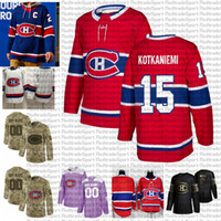 2021 Retro Retro Personalizar # 15 Jesperi Kotkaniemi Montreal Canadiens Hóquei Jerseys Golden Edition Camo Veterans Dia Lutas Cancer