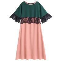 Siskakia plus Größe Midi Kleid Mode Mesh Spitze Hit Farbe Patchwork Frauen Elegante Kleider Rosa 3/4 Ärmel Frühling Sommer 2020 Y1224