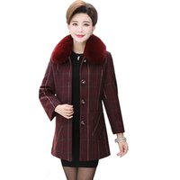 2020 Autumn Winter mid long single- breasted Fur collar Woole...