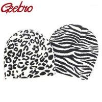 Geebro Femmes Hiver Soft Fashion Soft Shell Zebra Cow Léopard Impressé Unisexe Plaid Casual Casual Hat Squullies Hat Cap1