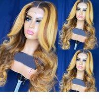 13x6x1 Frente de encaje Pelucas de cabello humano Peruano Base de seda de onda de encaje Pelucas frontales de encaje pre arrolladas con cabello bebé Destacados Miel Rubia