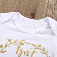 Kıyafetler Kısa Bebek Kız Kol Mektubu Baskılı Tulum Pantolon Kafa Tops Bandı Üç Parçalı Setleri Çocuklar Rahat Giyim Kızlar 0-12M