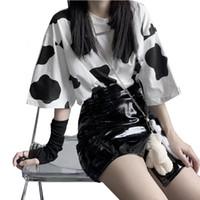 Summer Women's Cow Print Manica Corta T Shirt femminile Harajuku Ladies Tee Moda Streetwear Donne Tshirt Tops Basic Tops