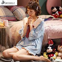 JRMISSLI Princess Women's Pajama Cotton Sleepwear Plus Size Pijama Turn-down Collar Homewear Sets Sexy Nighty For Girls Pyjamas 200930