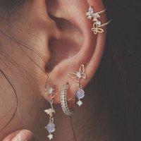Dell'orecchio della perla di modo di polsino Boemia resina farfalla orecchini clip orecchio strass Piccolo Ear Cuffs orecchini di clip per monili delle donne regalo di nozze