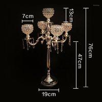 76cm de altura de la boda de la boda de la boda de la boda de la boda de la decoración de la vela de cristal de 5 brazos 2 pcs / lot candelops europe1