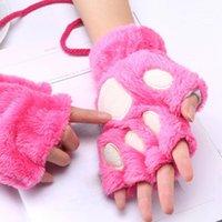 قفازات أصابع النساء بالإضافة إلى المخملية سماكة نصف الإصبع الوجه الحفاظ الدافئة المعصم القفازات الإناث الشتاء رقيق bear1