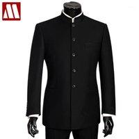 MYDBSH Erkekler Büyük Boy Çin Mandarin Yaka Erkek Suit Slim Fit Blazer Düğün Terno Smokin 2 Parça Ceket Pant1
