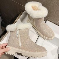 2020 Fashion Full Diamond Fur Bottom Comfortable Wild Plus Velvet Short Tube Motorcycle Boots Sequined Cloth Round Toe Zipper