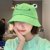 Kadın Moda Kurbağa Kova Şapka Kadın Sonbahar Yaz Şapka Sevimli Karikatür Büyük Gözler Açık Yürüyüş Plaj Balıkçılık Kap Sun1