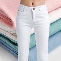 Lism الأبيض عالية الخصر جينز المرأة الربيع الجينز امرأة نحيل سليم رأ مكتب سيدة الدينيم سروال رصاص الإناث جينز فام بنطلون 201225