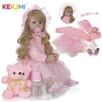 NUOVO DESIGN KEUMI Elegante Reborn Baby Girl Dolls 24 '' 60 cm Princess Soft Vinyl Baby Reborn con regali di Natale ricci lungo oro LJ201125