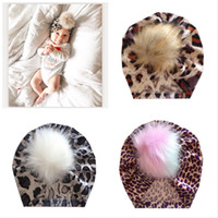 M312 New Autumn Winter Infant Baby Hat Kids Faux Fur Ball Leopard Colorful Caps Children Flocking Skull Cap Turban Hats