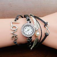 Saatı 2021 Marka İzle kadın Rhinestones Yaratıcı PU Deri Strapwatch Fashionbracelet Kuvars Watchleisure Saat Giftbayan Ko