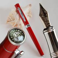 Fontaine Pens Picasso 607 stylo fine nib noire blanc blanc rouge orange et argent feuille de feuille peut choisir une boîte ou non des offres d'affaires