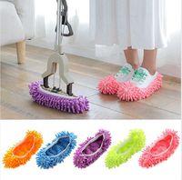 Lazy Clean Mop Slipper réutilisable chaussures Couverture souple Bonbons Couleur Lavable Nettoyage sol Outils de nettoyage de ménage Accessoires LJJP630