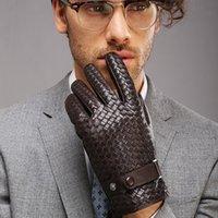 Handschuhe Mode für Männer Neue High-End-Webart Echtes Leathersolid Armband Schaffell Handschuh Mann Winter Wärme Fiine1
