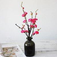 الزخرفية الزهور أكاليل جميلة البرقوق أزهار الكرز الحرير الاصطناعي زهرة ساكورا شجرة الفروع الزفاف الديكور الجدول ديكور المنزل