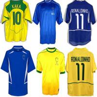 الرجعية البرازيل الرجعية لكرة القدم مايوه 2002 2004 2006 لكرة القدم الفانيلة Romario Ronaldinho Rivaldo Kaka 94 98 00 02 06 البرازيل كرة القدم