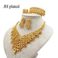 الأقراط قلادة jhplated المرأة رائعة الفاخرة دبي مجوهرات مجموعة من الذهب اللون الهند نيجيريا اكسسوارات الأفريقية هدية الزفاف بالجملة
