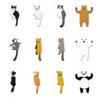 IamPretty حار بيع 2 قطعة / زوج لطيف الحيوانات الجدار السنانير الديكور الدب الكلب القط الراكون هوك شماعات التبعي لمفاتيح أشتات 201021
